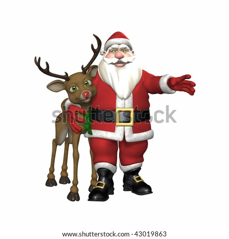 Santa with his arm around a red nosed reindeer. Isolated on a white background.