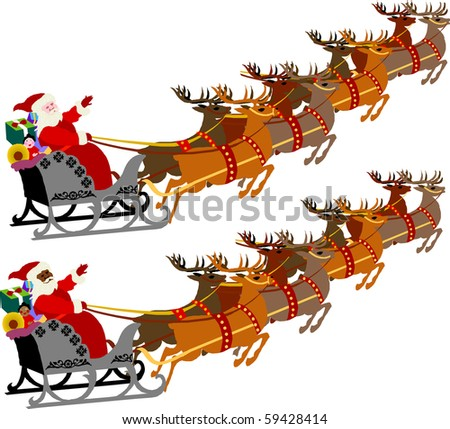 Santa with Sleigh and Reindeer, raster version illustration of 2 versions.