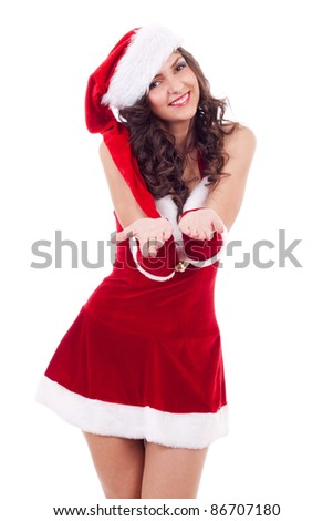 santa woman holding something imaginary in her hands