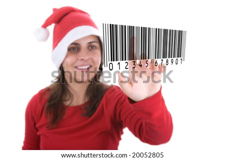 santa woman making online christmas shopping pressing barcode on screen. isolated on white background.