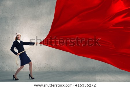 Santa woman with banner - Shutterstock ID 416336272