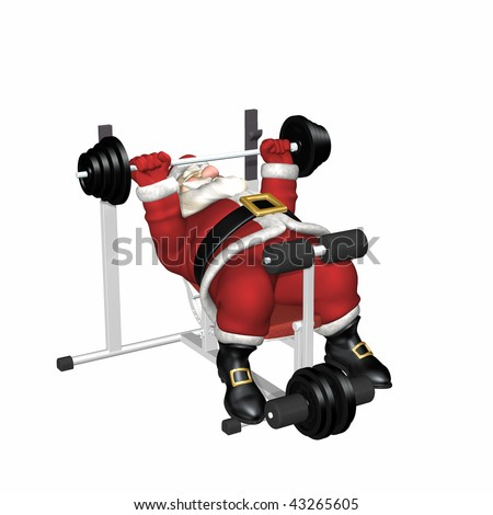 Santa Working Out by Lifting Weights.  Isolated.