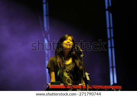 SANTANDER, SPAIN - JULY 22: The Pains of Being Pure at Heart band performs at Santander Music Festival on July 22, 2011 in Santander, Spain.