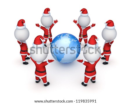 Santas around Earth.Isolated on white background.3d rendered.