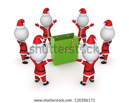 Santas around green packet.Isolated on white background.3d rendered.