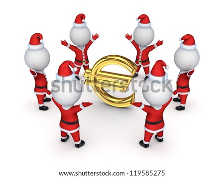 Santas around sign of euro.Isolated on white background.3d rendered.
