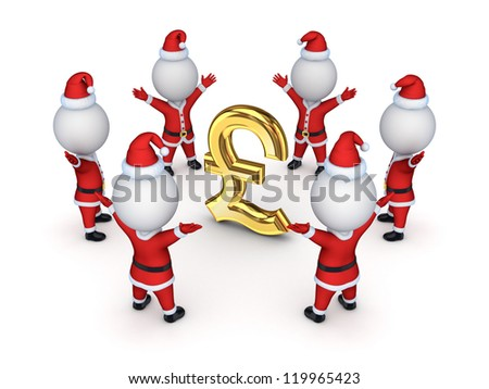 Santas around sign of pound sterling.Isolated on white background.3d rendered.
