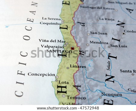 Santiago and Concepcion Chile on map