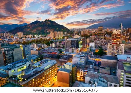 Santiago de Chile dwontown after sunset, Chile Сток-фото ©