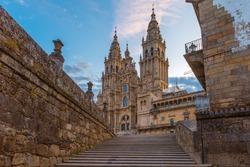 Santiago de Compostela Cathedral, Galicia, Spain in the morning