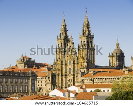 SANTIAGO DE COMPOSTELA, SPAIN - MARCH 21:: Cathedral of Santiago de Compostela on March 21, 2009 in Santiago de Compostela, La Coruna. Cathedral of Santiago Compostela is a temple of Catholic worship