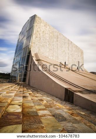 SANTIAGO DE COMPOSTTELA, SPAIN - NOVEMBER 13: City of Culture building on November 13, 2011 in Santiago de Compostela, La Coruna. City of Culture is a complex architectural designed by Peter Eisenman