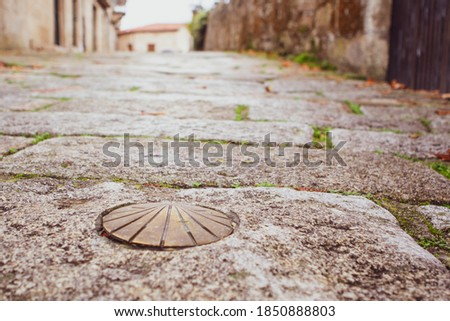 Santiago shell (Pilgrims shell), St James shell in Allariz,Ourense, Spain