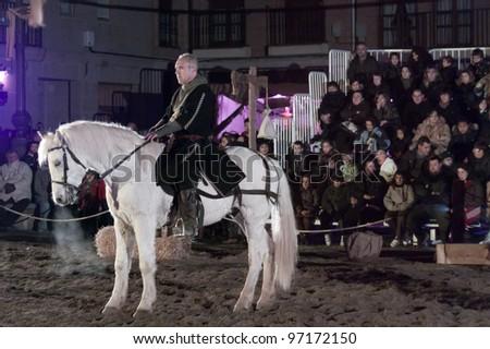 SANTO DOMINGO DE LA CALZADA, SPAIN - DECEMBER 4: equestrian tournament between knights in the annual medieval market December 4 in Santo Domingo de la Calzada, Spain.