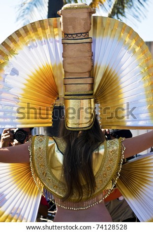 """SANTO DOMINGO, DOMINICAN REPUBLIC - MARCH 6: Beauty queen at the """"Malecon"""" Carnival on March 6, 2011 in Santo Domingo, Dominican Republic. Fantastic costumes can be seen at this event."""