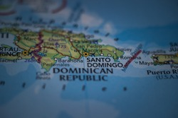 Santo Domingo, the capital and largest city of the Dominican Republic on a geographical map