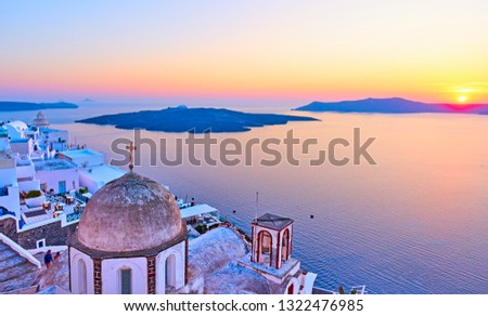 Santorini and Aegean sea at sundown, Thira town, Greece. Lanscape with space for your own text
