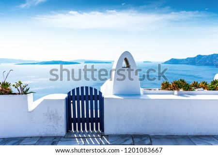Santorini, Greece. Picturesque details of traditional cycladic Santorini houses on cliff #1201083667