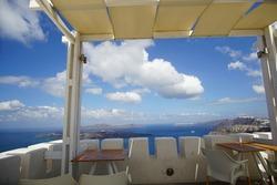 Santorini, GREECE Street with greek architectures, beautiful landscape in Oia on Santorini island in Greece in Europe.