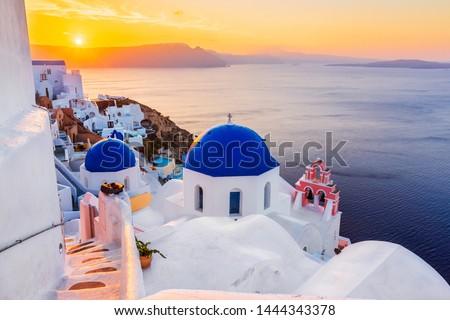 Santorini, Greece. The picturesque Oia village at sunrise.