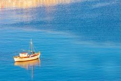 Santorini Greece, White Boat at dawn, Santorini island Greece