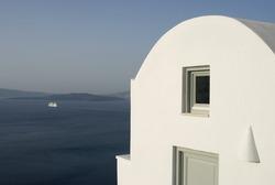 santorini house villa view with cruise ship incredible greek islands