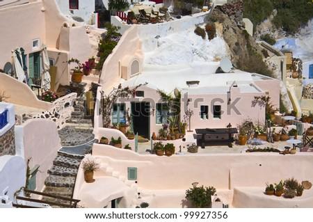 Santorini island and the village of Oia at the cyclades, aegean sea, Greece