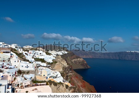 Santorini island and the village of Oia at the cyclades, aegean sea, Greece