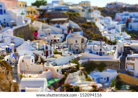 Santorini island, Greece, tilt-shift effect - stock photo