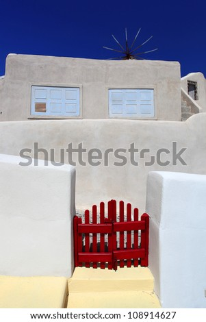 Santorini old house, Traditional white architecture in Greece