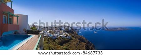 Santorini panorama (Firostefani) - vacation background