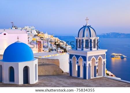 Santorini sunset (Firostefani) - Greece vacation background
