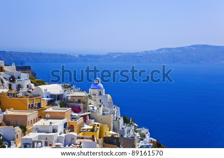 Santorini View (Thira) - vacation background - stock photo