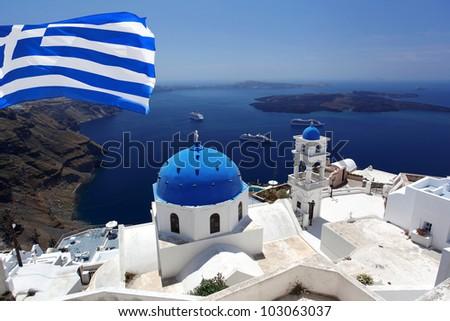 Santorini with flag of Greece, Fira capital town