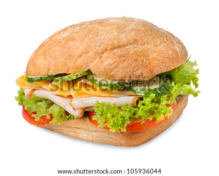 Sanwich with chiken, cheese and vegetables