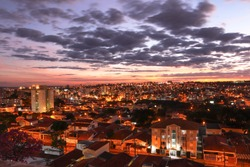 Sao Carlos, SP, Brazil – Top view of the west side of the city at sunset. View of a Neighboorhood called
