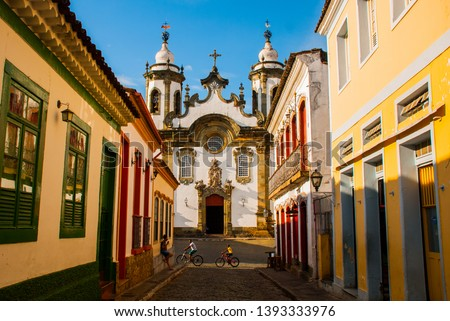 Sao Joao del Rei, Minas Gerais, Brazil: Street view of the Nossa Senhora do Pilar church in Sao Joao del Rei, Brazil