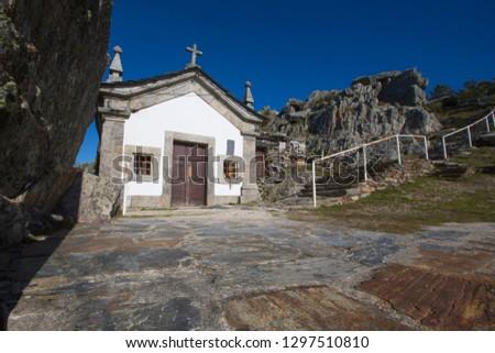 Sao Macario Chapel aka Capela de Sao Macario in Serra de Sao Macario. From here you can see serra do Montemuro, Estrela, Caramulo and Vale de Lafões and Gralheira.
