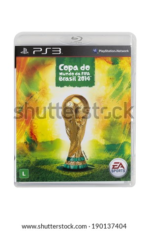 SAO PAULO APRIL 26 2014 Brazilian version of the game FIFA World Cup Brazil 2014 for PS3 by EA Sports