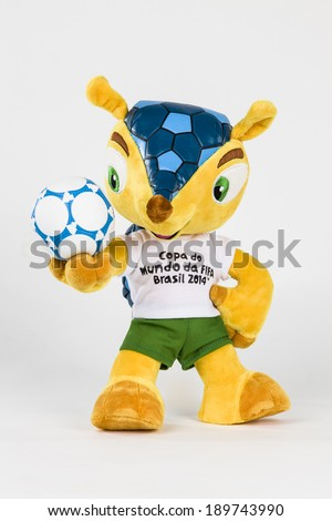 SAO PAULO - APRIL 28, 2014: Fuleco Fur mascot, fuleco is the official mascot of the World Cup in Brazil.