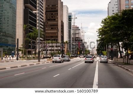SAO PAULO, BRAZIL - February 12: Paulista Avenue is one of the most important thoroughfares of the city of Sao Paulo, one of the main financial centers of the city on February 12, 2013, in Sao Paulo.