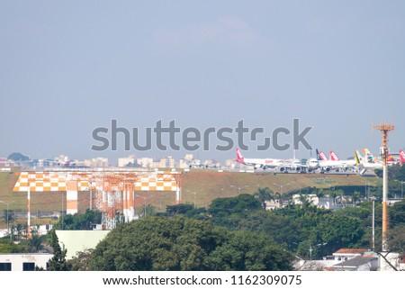 Sao Paulo, Brazil, mai 26, 2018: Airplanes landing at the Congonhas airport in Sao Paulo, Brazil #1162309075