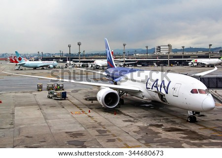 SAO PAULO, BRAZIL - NOVEMBER 25, 2015: LAN Airlines Boeing 787-8 Dreamliner at the Guarulhos International Airport.