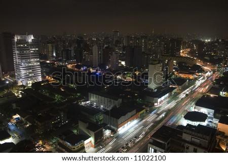Sao Paulo, Brazil. Top view by night
