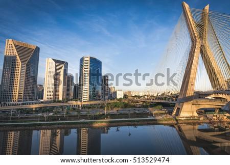 Sao Paulo's Landmark Estaiada Bridge - Brazil - Shutterstock ID 513529474