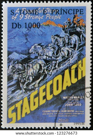 SAO TOME AND PRINCIPE - CIRCA 1995: A stamp printed in Sao Tome shows movie poster stagecoach, circa 1995