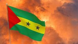 Sao Tome and Principe flag on pole. Dramatic background. National flag of Sao Tome and Principe