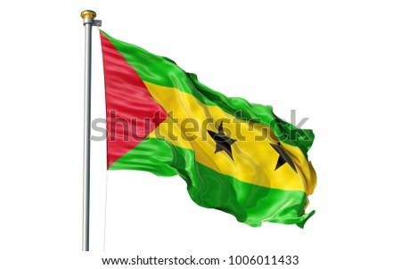 Sao Tome Principe flag. Isolated 3d Sao Tome Principe flag
