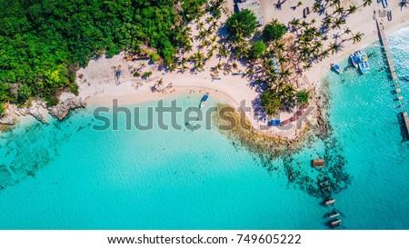 Saona Island in Dominican Republic aerial drone  Foto stock ©