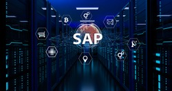 SAP - Business process automation software and management software (SAP). ERP enterprise resources planning system concept on virtual screen.